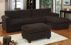 Sunnyvale Chocolate Corduroy Sectional Sofa Set at GoWFB.ca | Urban Cali | Free Shipping