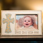 """What a cute picture frame for a new little boy.  This frame has the wording, """"Bless this little one!""""  Great gift!!!  Visit our website at www.burlap4everything.com for more cute ideas....."""