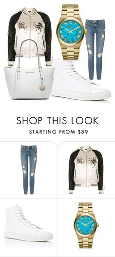 """""""All white :)"""" by nela89 ❤ liked on Polyvore featuring Frame Denim, Topshop, Common Projects and Michael Kors"""