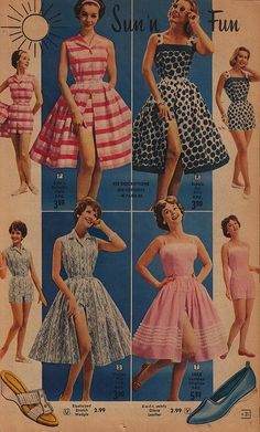 Florida fashion 1956 - the beach Vintage Fashion 1950s, 1960s Fashion, Fashion Sewing, 50s Dresses, Vintage Dresses, Retro Outfits, Vintage Outfits, Florida Fashion, Fashion Catalogue