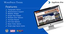 Eggnews Pro is a responsive magazine premium wordpress theme. This theme is mainly applicable for online magazines, newspaper, publishing, personal blogs and any kind of news sites. It's customizable theme.