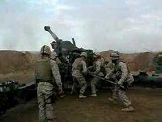 M198 Field Artillery firing 3 rounds in 20 seconds. Iraq,November 2004.  Gun 6, C battery, 1st BN 12th Mar