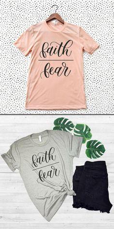 Faith over fear Christian t-shirt, love this so much!! #christian #christianshirt #faith #affiliate