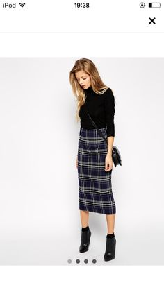 Asos, tartan long skirt, turtle neck