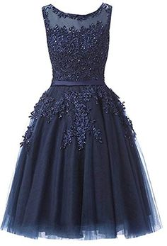 d73a210a32 Bridesmaid Dresses Tulle Lace Junior s Formal Cocktail Applique Homecoming  Dresses Evening Gowns Navy Blue US6