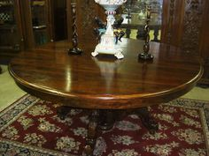 "Antique Style Country French Hand Carved 72"" Round Solid Hardwood Dining Table 