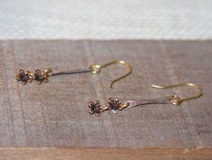 Delicate Flower Bar Dangle Earrings Flower by BirchBarkDesign