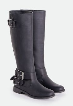 A faux leather boot that's perfect for everyday style and wear. It features an inner zip closure and buckle accents at ankle and shaft.  ...
