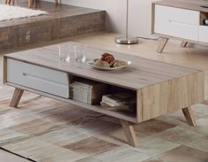 Table basse scandinave laqué blanc et couleur bois LARS