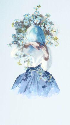 Flowers Blue Illustration Wallpapers Ideas For 2019 – Wallpaper Anime Art Girl, Manga Girl, Manga Anime, Blue Drawings, Art Drawings, Jolie Photo, Cute Wallpapers, Flower Art, Flower Girls