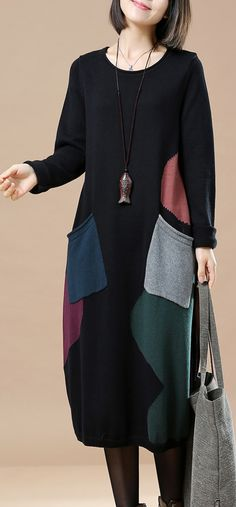 $78.00-stylish black long sweaters dresses trendy plus size pullover casual  baggy pullover sweater patchwork #plussizedress#omychic