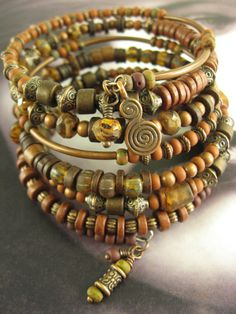 From the Arm Candy Collection...    Bohemian Bronze    7 Layer Beaded Wrap Bracelet featuring Czech Glass Beads and Seed Beads, Greek Mykonos