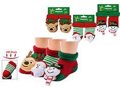 First Christmas - Rassel-Söckchen für Weihnachten mit ABS-Druck
