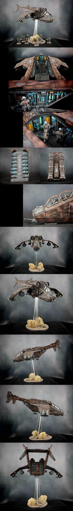 Astra Militarum, Militarum Tempestus, Imperial Navy - Valkyrie || Regiment: Lions of Leander VI || Warhammer 40k