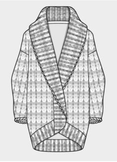 cocoon sweater reference Flat Drawings, Flat Sketches, Fashion Design Portfolio, Fashion Design Sketches, Croquis Fashion, Cocoon Sweater, Fashion Drawing Dresses, Fashion Pattern, Clothing Sketches