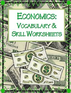 ECONOMICS ACTIVITY PRINTABLES~ Activities include practice using economics vocabulary, calculating profit, and problem-solving kid-friendly business problems. Easy-to-use. Print and go! Five worksheets with full-page answer keys included. #economics #worksheets $