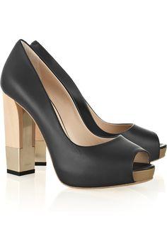 BALLY  Alicya block-heel leather peep-toe pumps  $795