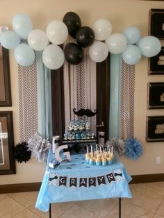 50 Ideas Baby Shower Ideas For Boys Bow Tie Mustache Theme First Birthdays For 2019 First Birthday Decorations Boy, Birthday Themes For Boys, Baby Shower Decorations For Boys, Adult Birthday Party, Boy Baby Shower Themes, Baby Birthday, Baby Boy Shower, Mustache Baby Showers, Mustache Party Decorations
