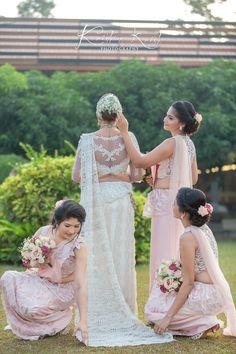 Bridesmaid Saree, Bridesmaids, Sri Lankan Wedding Saree, Going Away Dress, Saree Jackets, Bridal Headdress, White Saree, Wedding Planning, Wedding Ideas
