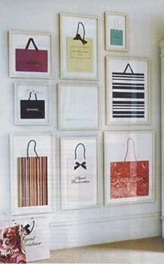 Framed shopping bags ~ Great idea for a teenage girl's bedroom
