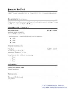 Housekeeper Resume Example resume housekeeper sample resume cleaning manager resume sample housekeeping supervisor resume sample objective examples for pertaining Lined Housekeeping Resume Template