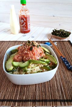 Spicy tuna with cucumber salad -I dont know if I would do raw tuna at home but maybe