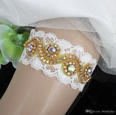 Sexy Lace Gold Rhinestones Vintage Handmade Wedding Garter Set Luxury With Bridal  Leg Garter Belt Beads Bride Accessories Plus Size Wedding Leg Garters ... f9ef9a638dbd
