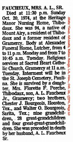 Faucheux, Amiee M Bourgeois Obituary