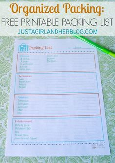 Printable Packing List for Organized Travel Packing for vacation? Make the process easier with this organized packing list! Oh, and it's pretty, too! Printable Packing List, Printable Planner, Free Printables, Beach Vacation Packing, Vacation Trips, Vacation Deals, Travel Deals, Camping Checklist, Camping Guide