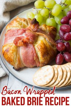 Bacon Wrapped Baked Brie in Puffy Pastry Recipe. A fabulous holiday appetizer wi. Bacon Wrapped Baked Brie in Puffy Pastry Recipe. A fabulous holiday appetizer with puff pastry wrap Brie Appetizer, Bacon Appetizers, Easy Appetizer Recipes, Holiday Appetizers, Appetizer Party, Party Snacks, Brie Bites, Puffy Pastry Recipe, Brie Puff Pastry