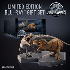 Jurassic World limited edition Blu-Ray gift set which comes with a maquette of the Indominus Rex and Tyrannosaurus Rex stand-off as well as Blu-Ray, 3D Blu-Ray, DvD of the film and digital HD copy.