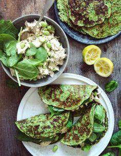 green grain-free pancakes w/ chicken + chickpea salad