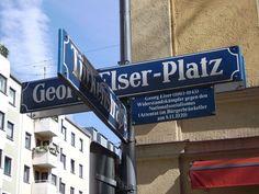 Plaza Georg Elser, uno de los homenajes del presente al resistente que intentó acabar con Hitler.