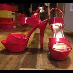 Never worn, Red Heels. These fun red heels have never been worn. Straight out of the box! Shoes Heels