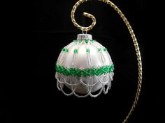 Green and White Bead Christmas Ornament Cover | BeadsBloomsnBeauties - Seasonal on ArtFire