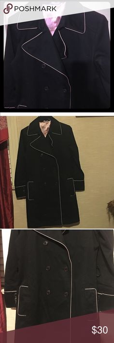 Hillard and Hanson black dress coat   Small Cotton. Inside lining is polyester. Missing the black tie/belt. Great condition. Hillard & Hanson Jackets & Coats Trench Coats