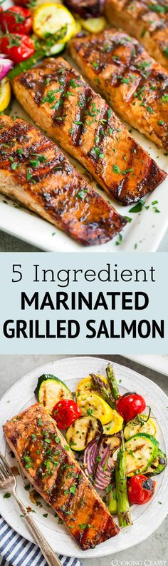 5 Ingredient Marinated Grilled Salmon via Jaclyn {Cooking Classy} - All Recipes Grilling Recipes, Fish Recipes, Seafood Recipes, Vegetarian Recipes, Dinner Recipes, Cooking Recipes, Healthy Recipes, Tilapia Recipes, Seafood Meals