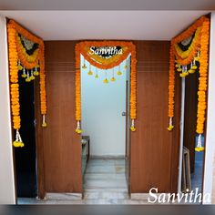 Door framed with two coloured marigold flowers🌼💐 Classy Door Decor 🌿🌼🌿 Decor by 📞💬 7997458082 Celebrate Your Day✨ Diwali Decorations At Home, Decoration Crafts, Indian Wedding Decorations, House Decorations, Festival Decorations, Flower Decorations, Mehndi Decor, Mehendi, Home Flower Decor