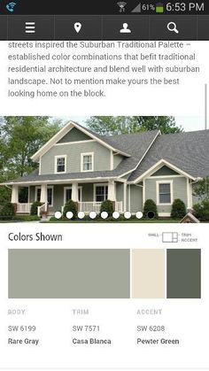 Colors for my house - Sherwin Williams Body SW 6199 Rare Gray Trim SW 7571 Casa Blanca Accent SW 6208 Pewter Green Green Exterior Paints, Exterior Gray Paint, Exterior Paint Colors For House, Paint Colors For Home, Paint Colours, Exterior House Paints, Outside House Paint Colors, Green House Paint, Siding Colors For Houses