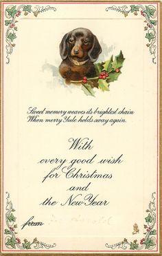 Con mis mejores deseos para la Navidad y EL NUEVO AÑO DE dachshund y del acebo
