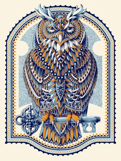 """""""Great Horned Owl""""-Size: 18"""" x 24"""" inches (45.72 x 60.96 cm)-3 Color Silk Screen Print (Navy color has metallic shimmer)-80lbs White Pearl Iridescent Paper -Hand Signed-Hand EmbossedARTWORK:Illustration of a Great Horned Owl perched on an antique inspired key. This is a graphite drawing that was digitally colored and screen printed on white pearl iridescent textured paper. Depending on what angle you're viewing this, the color of the print wil..."""