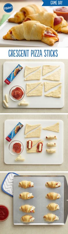 Crescent Pizza Sticks will become your new go-to Game Day recipe! They're the perfect appetizer, snack or meal to kick off the football game with family and friends. These super easy 4-ingredient pizza sticks are loaded with cheese and pepperoni and dipped in marinara for extra deliciousness. Bring them to your next game day party for a guaranteed hit!