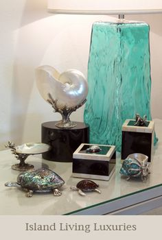 Nautilus...abalone...turquoise glass lamp (love the texture in the glass). Nice grouping of items.