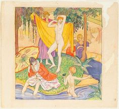 The bathers, (circa by Thea Proctor Flower Show, Female Art, Printmaking, Illustrations, Painting, Women, Artists, Woman Art, Illustration