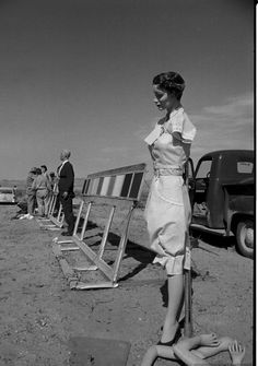 "Nevada, 1955 - A-bomb test site (""Now, were her arms supposed to fall off before or after the bomb goes off?"")"