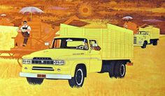 Dodge Trucks 1960- Art by Charles Wysocki. http://www.dodgeclassictrucks.com/ads.html http://todaysinspiration.blogspot.co.uk/2011/06/1960-dodge-trucks-campaign.html