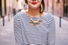 stripes, jewels, and red lips-you can't go wrong.