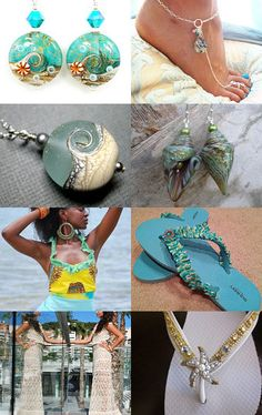 My flip-flops on this featured treasury! Beach Accessories, Summer Jewelry, Beachwear, Bling Bling, Bracelets, Creative, Womens Fashion, Flip Flops, How To Wear