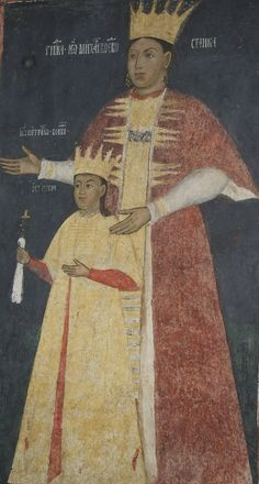 Căluiu Monastery - Lady Stanca and her son Pătrașcu Voivode. European Costumes, Mural Painting, Eastern Europe, Royalty, Portrait, Interior, Art, History Of The World, Events