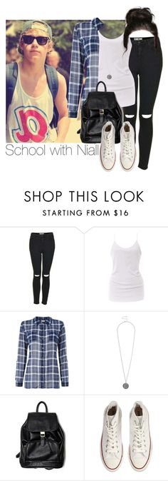 """School with Niall"" by cheyenne-stock ❤ liked on Polyvore featuring Topshop, Heather by Bordeaux, Linea Weekend and Converse"